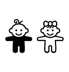 Boy and Girl Baby Icon vector image vector image