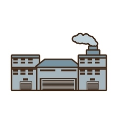 Cartoon building industry factory chimney front vector