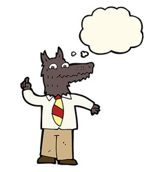cartoon business wolf with idea with thought vector image