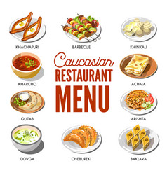 Caucasian restaurant menu with traditional dishes vector
