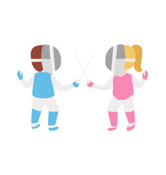 children epee fencing lunge competition activity vector image