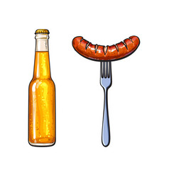 Cold beer and grilled barbequed sausage on fork vector