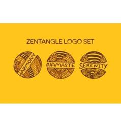 Detailed hand drawn zentangle logo set vector image vector image