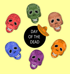 dia de los muertos day of the dead sugar skulls vector image