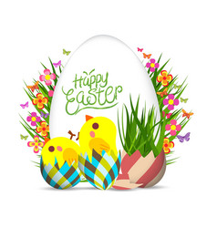Easter egg and chicken poster springtime flowers vector