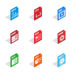 File type icons isometric 3d style vector