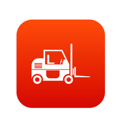 forklift icon digital red vector image vector image