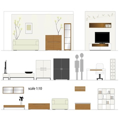 Furniture design living room interior furniture vector
