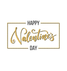 Gold happy valentines day caption vector