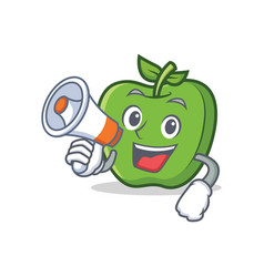 Green apple character cartoon with megaphone vector