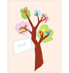 Greeting card with tree and banner for child vector image