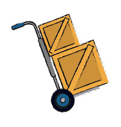 hand truck carrying wooden box shipping delivey vector image