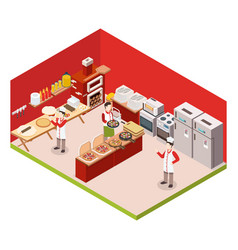 isometric pizzeria colored background vector image vector image