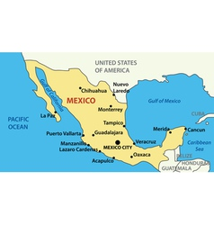 Map of united mexican states vector