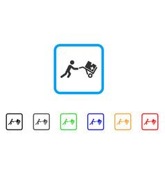 medical shopping cart framed icon vector image