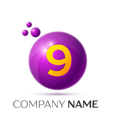 Number nine splash logo purple dots and bubbles vector