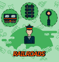 Railroads flat concept icons vector