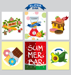 Set on a summer theme card beach holidays resorts vector