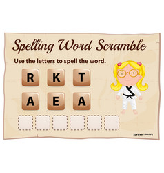 Spelling word scramble game with word karate vector