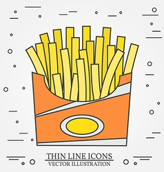 thin line icon fries in box For web design and vector image