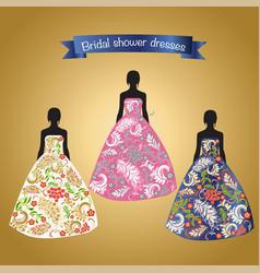 three romantic beautiful bridal or evening dresses vector image