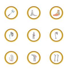 traumatology and orthopedic icons set cartoon vector image