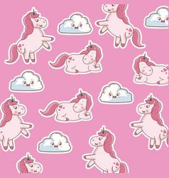 unicorn sleep dream decoration seamless pattern vector image