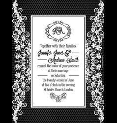 Vintage baroque style wedding invitation card vector
