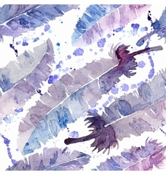 Watercolor feathers and blot seamless pattern vector