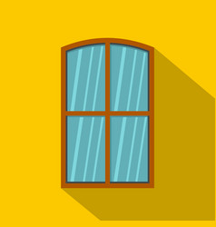 wooden brown window icon flat style vector image