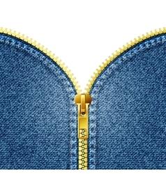 Zipper open on denim texture vector