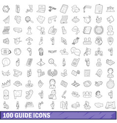 100 guide icons set outline style vector