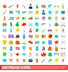 100 police icons set cartoon style vector