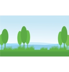 Nature scenery tree in fields vector