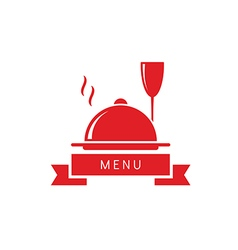 Wine glass with dish restaurant menu vector