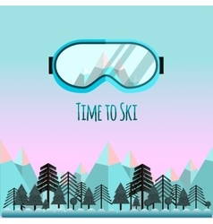 Time to ski sunglass with reflection of mountains vector