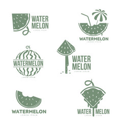 Graphic silhouette watermelon logo templates vector