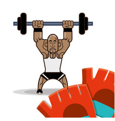 Bodybuilder fitness dumbbell and gloves vector