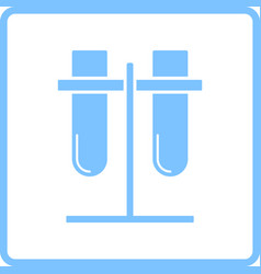 Lab flasks attached to stand icon vector