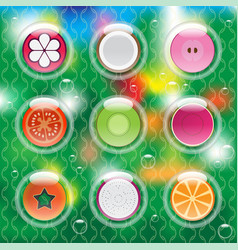 Mixed fruits in bubbles vector