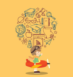 Kid playing toy airplane with education icon vector