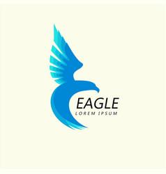 Blue eagle attacking flight trendy minimalistic vector