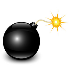 Glossy black bomb vector