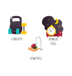 Healthy lifestyle concept flat isolated vector