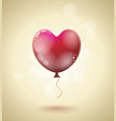 flying red ballon in form of a heart vector image