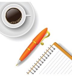 Cup of coffee and pen vector