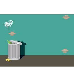 Alley can trash background wall vector