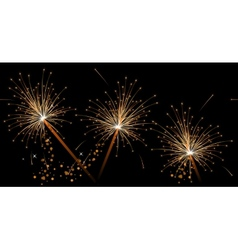 Seamless black festive pattern with sparklers vector