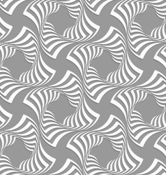3D white twisted squares on gray vector image vector image