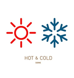 Hot and cold sun and snowflake icons vector